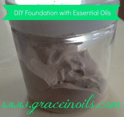 DIY Homemade Foundation using essential oils made with shea, cocoa, beeswax, vit e, green clay, cocoa powder, see blog for full recipe www.graceinoils.com
